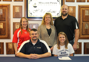 Kelsey Guyette with her parents, Coach Wise, and her high school coach (WPU alum Jessica Carson)
