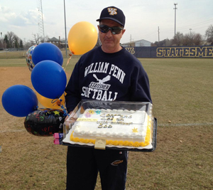 Coach Christner enjoyed a celebratory cake on Monday