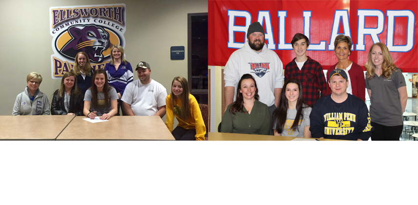 Brandie Collins (left) and Caitlyn Benson (right) with their families on the days they signed with William Penn